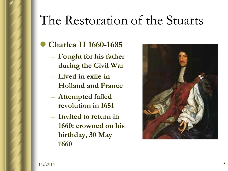The Restoration of the Stuarts