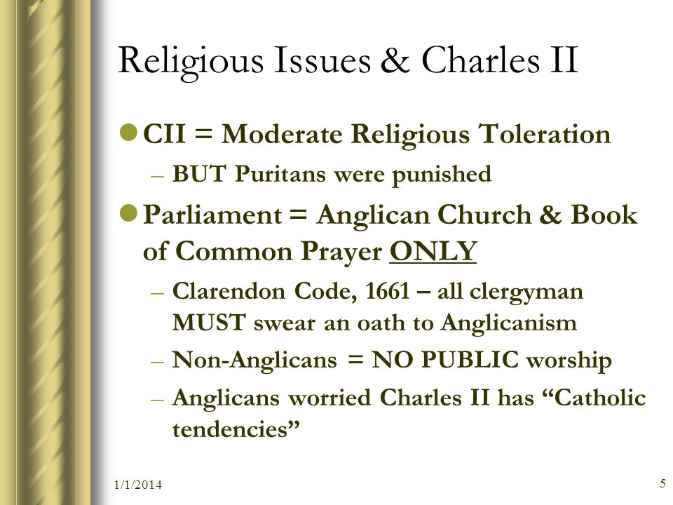 Religious Issues & Charles II