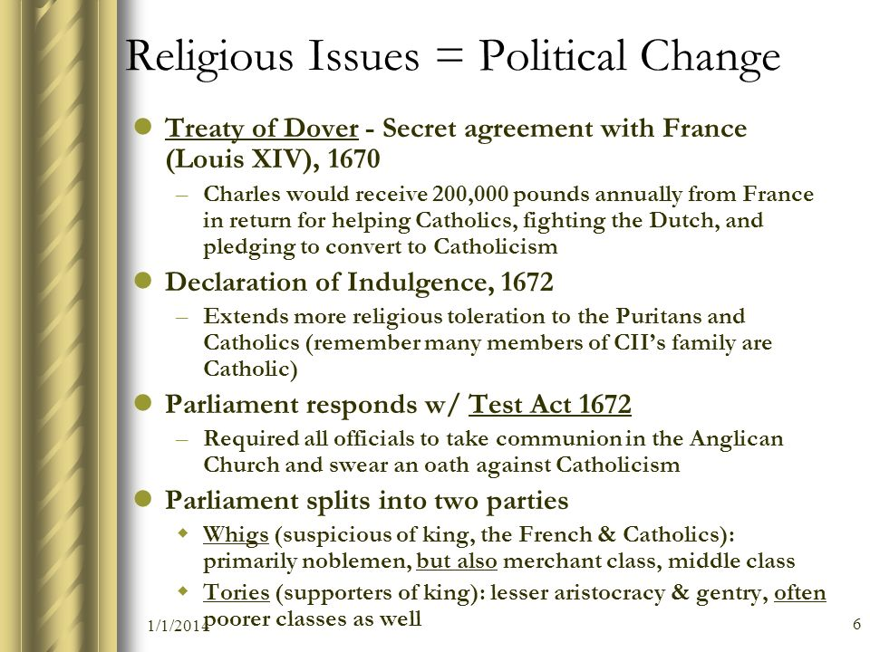Religious Issues = Political Change