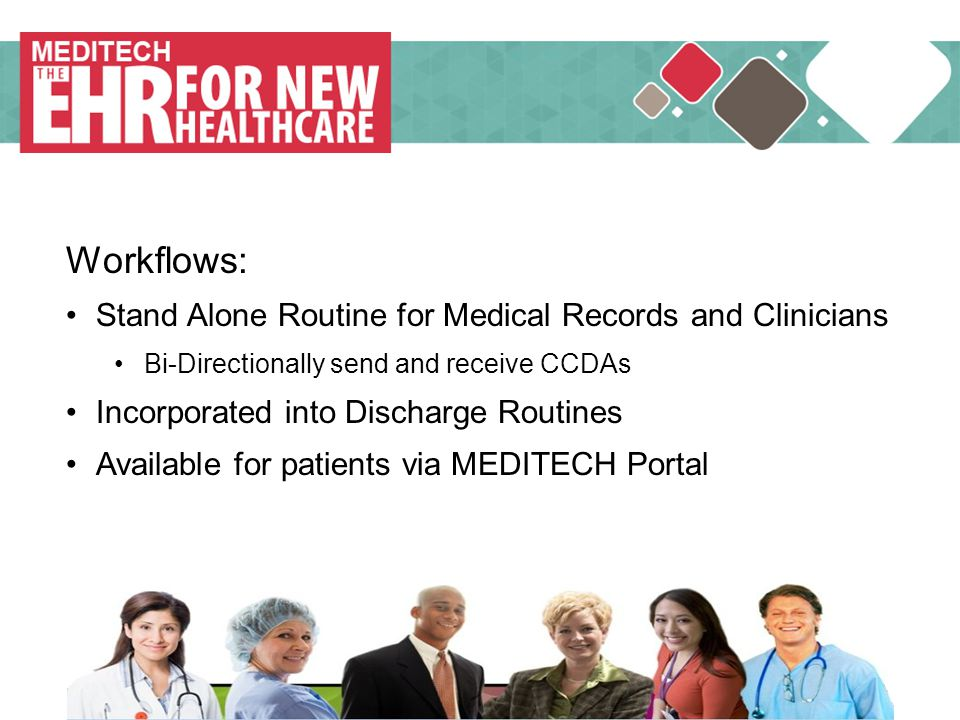 MEDITECH Workflows: Stand Alone Routine for Medical Records and Clinicians. Bi-Directionally send and receive CCDAs.