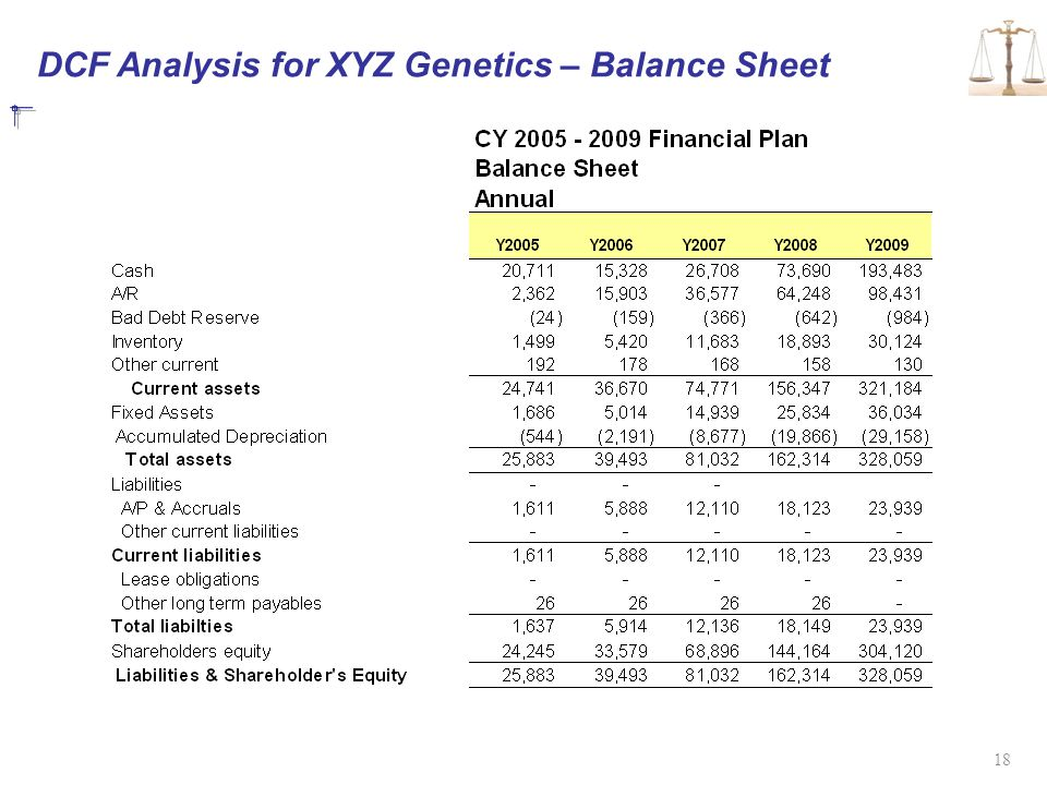 DCF Analysis for XYZ Genetics – Balance Sheet