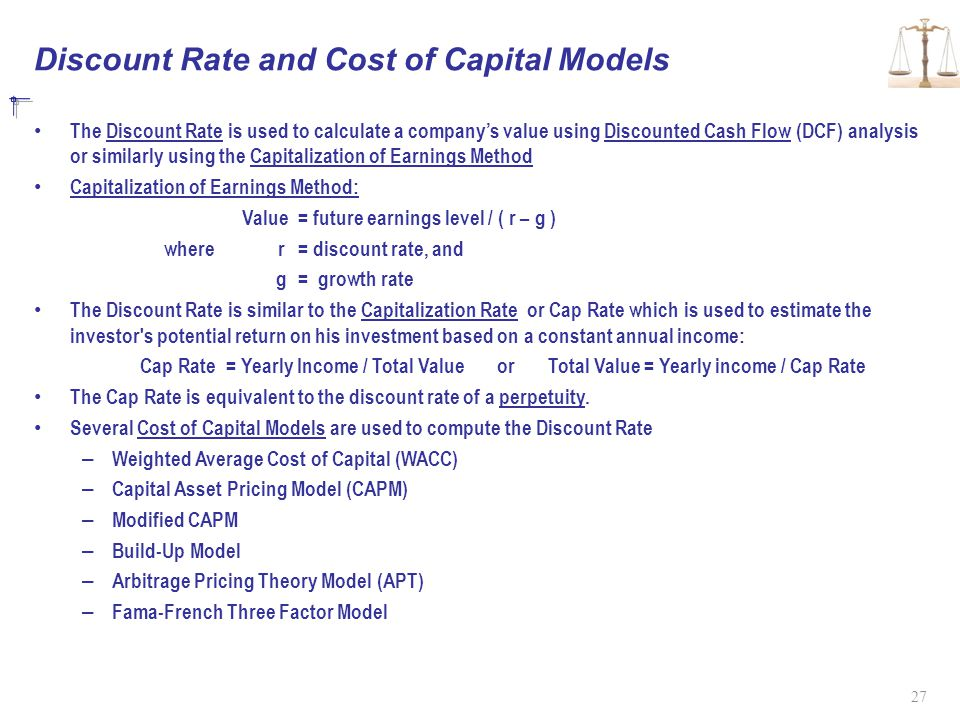 Discount Rate and Cost of Capital Models