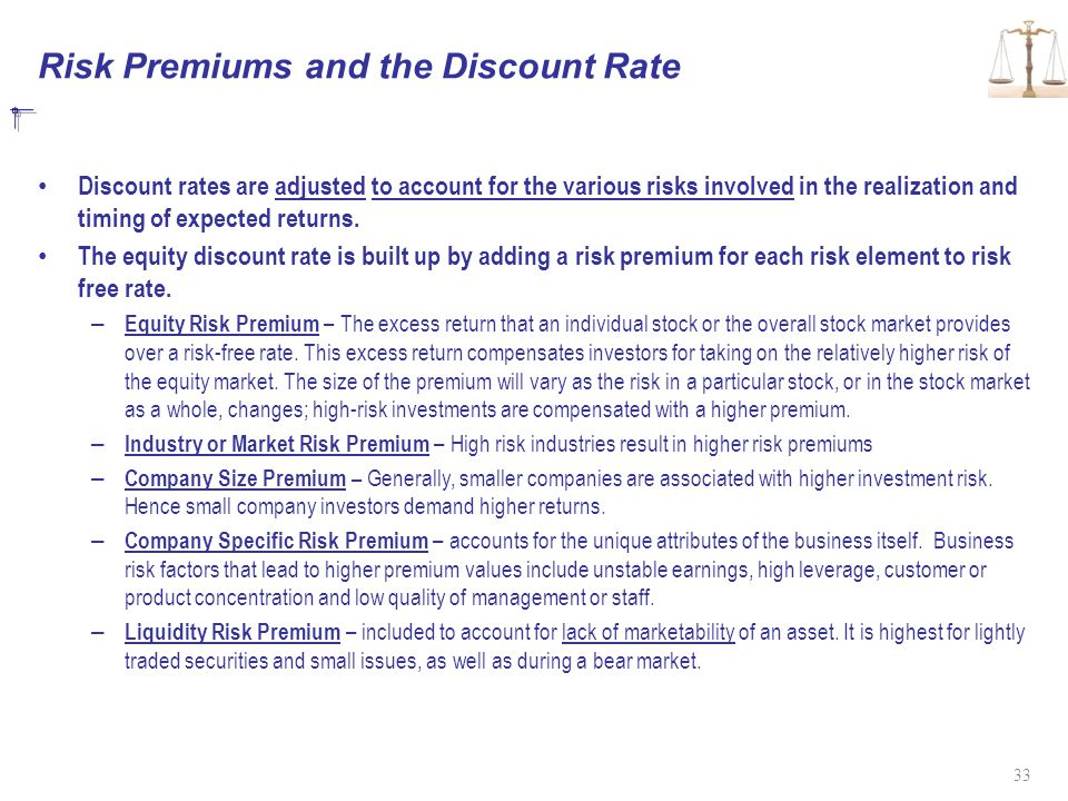 Risk Premiums and the Discount Rate