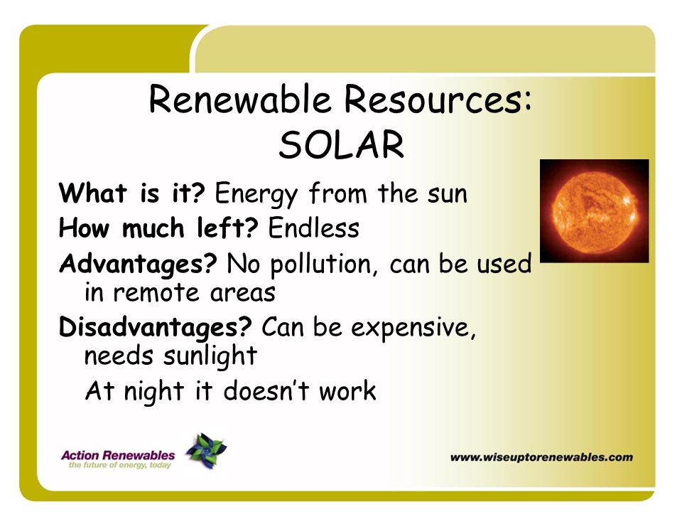 Renewable Resources: SOLAR