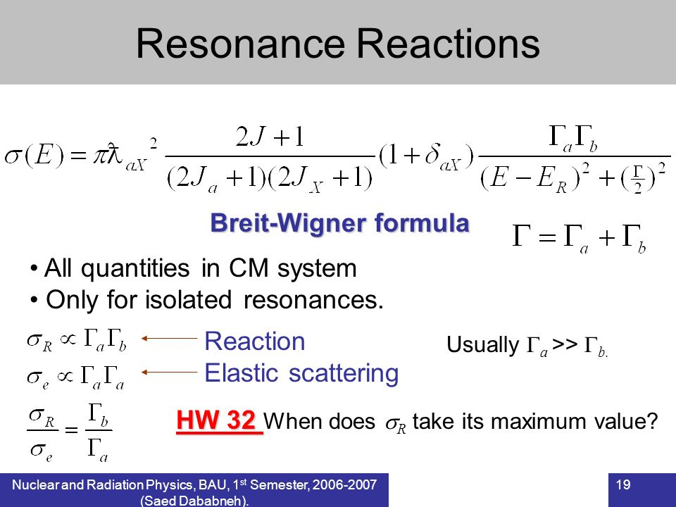 Resonance Reactions Breit-Wigner formula All quantities in CM system