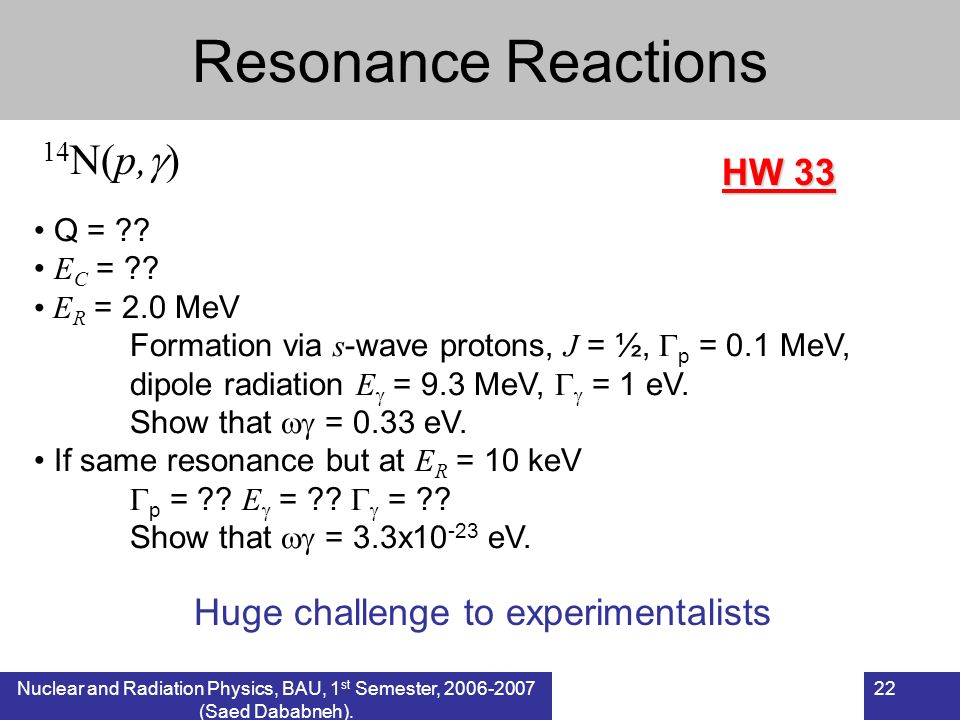 Resonance Reactions 14N(p,) HW 33 Huge challenge to experimentalists