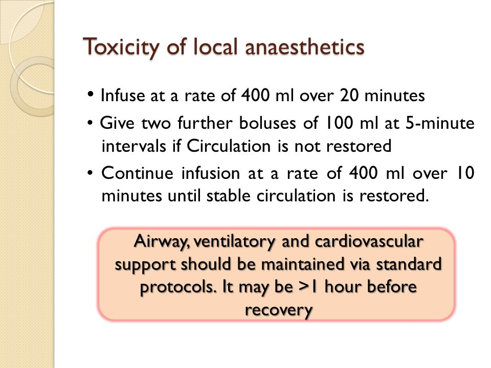 Toxicity of local anaesthetics