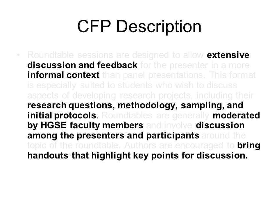 CFP Description