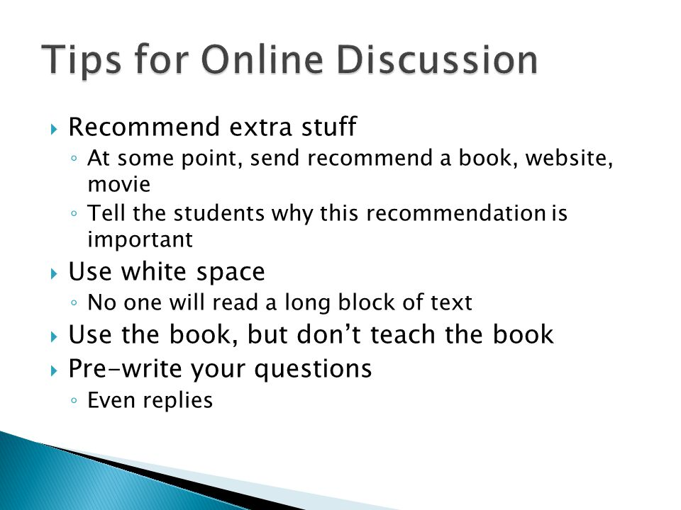 Tips for Online Discussion