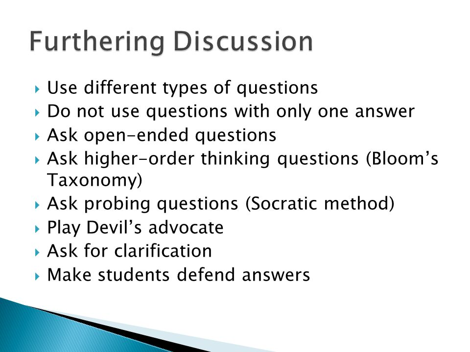 Furthering Discussion