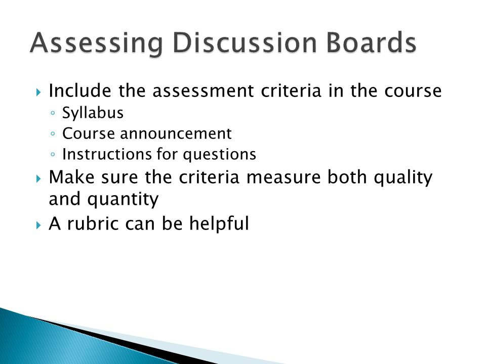 Assessing Discussion Boards