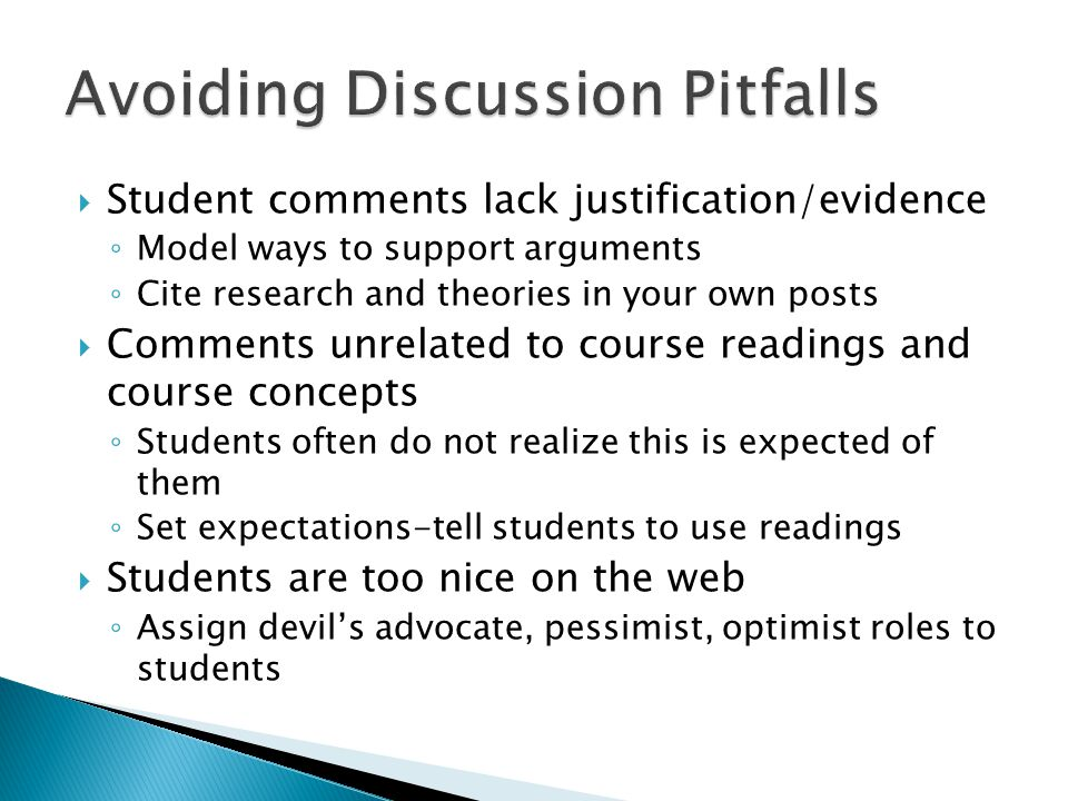Avoiding Discussion Pitfalls