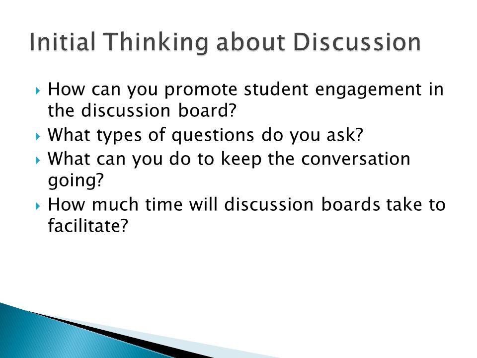 Initial Thinking about Discussion