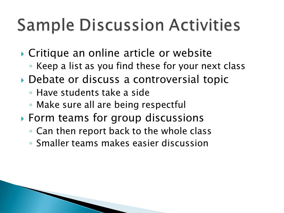 Sample Discussion Activities