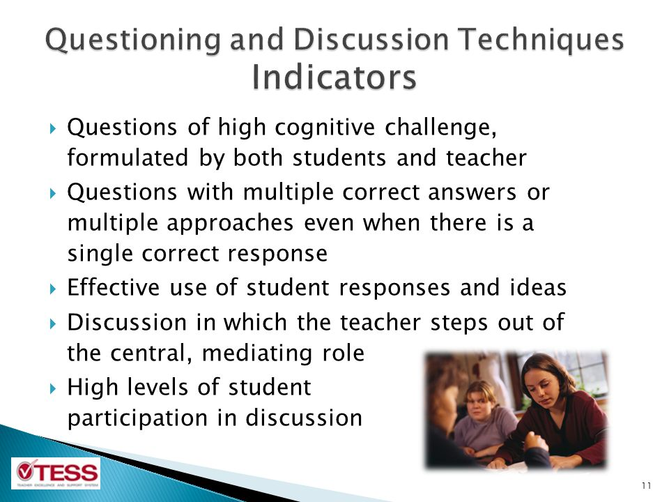 Questioning and Discussion Techniques Indicators