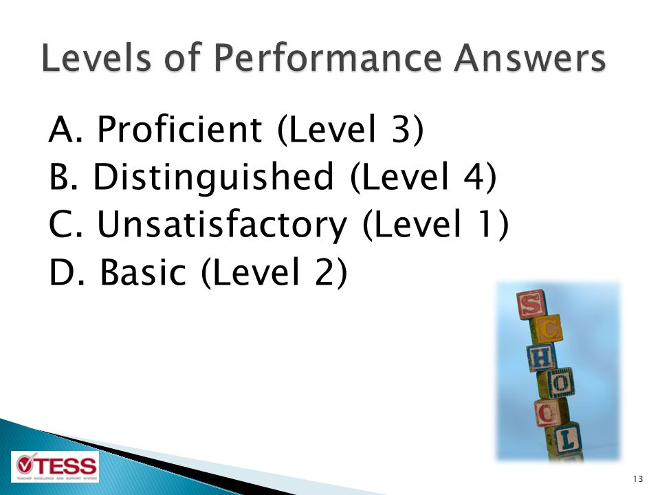 Levels of Performance Answers