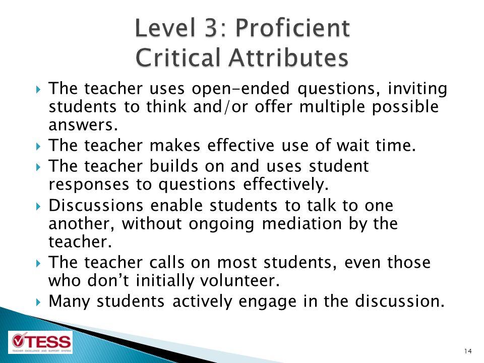 Level 3: Proficient Critical Attributes