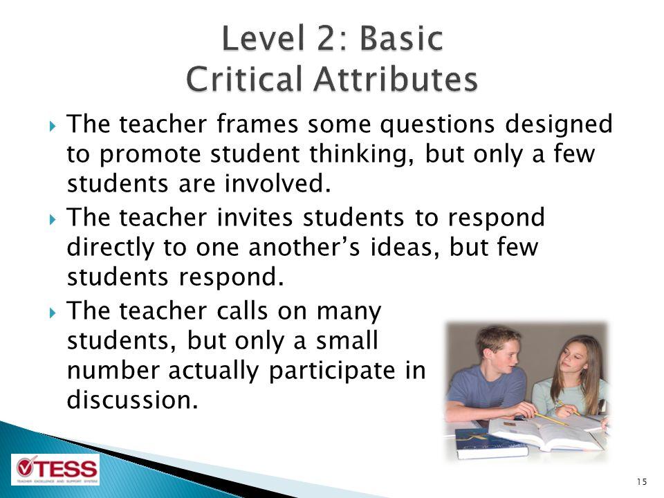 Level 2: Basic Critical Attributes