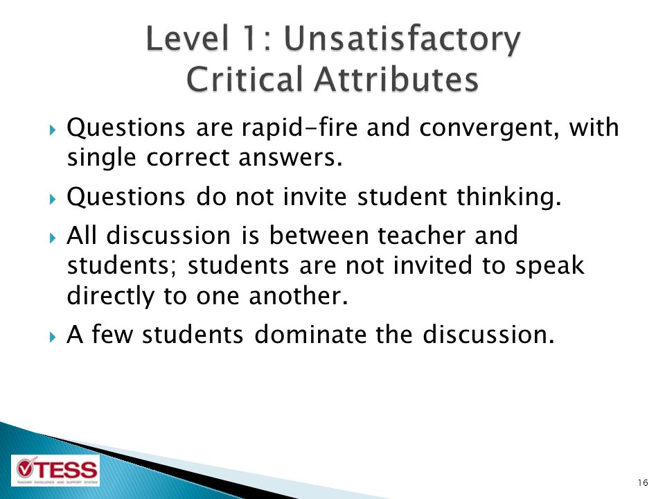 Level 1: Unsatisfactory Critical Attributes