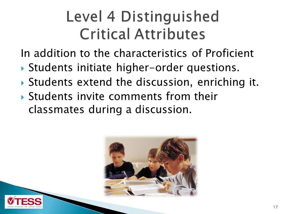 Level 4 Distinguished Critical Attributes