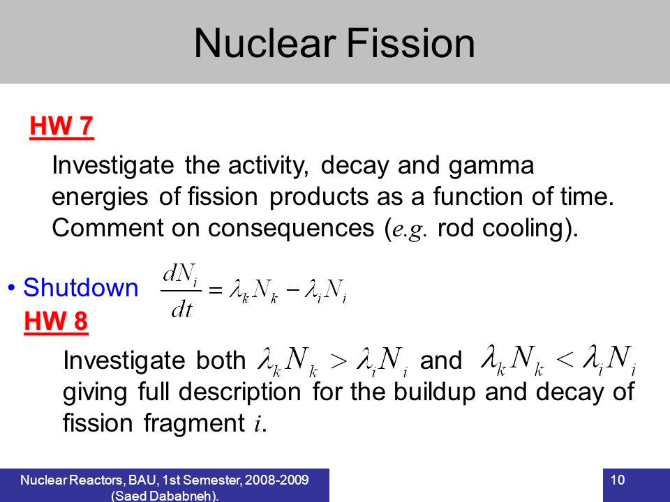 Nuclear Fission HW 7.