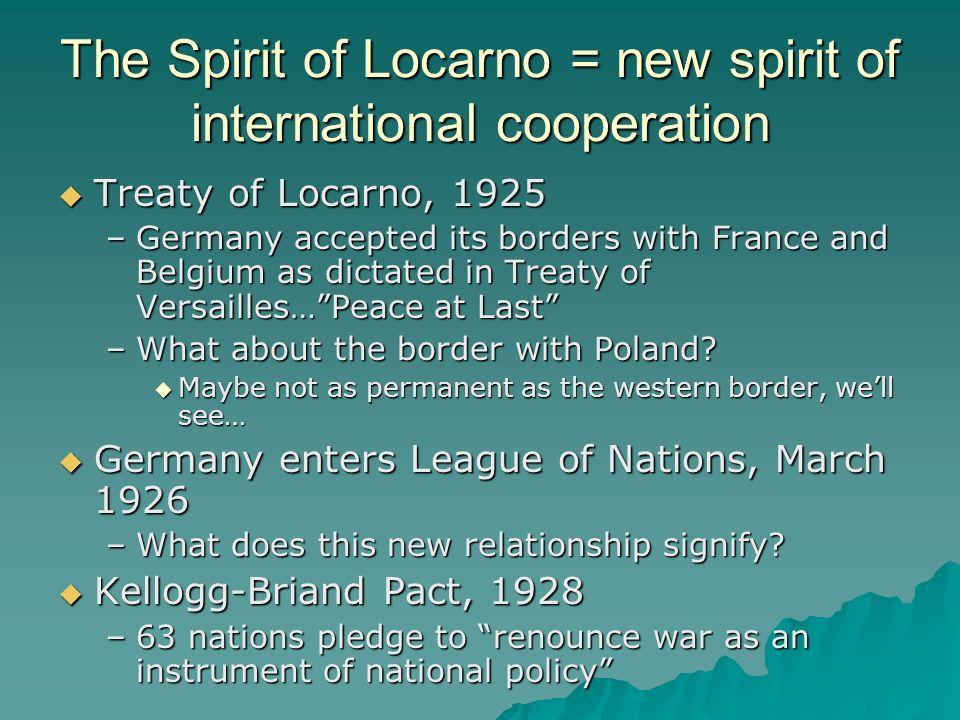 The Spirit of Locarno = new spirit of international cooperation