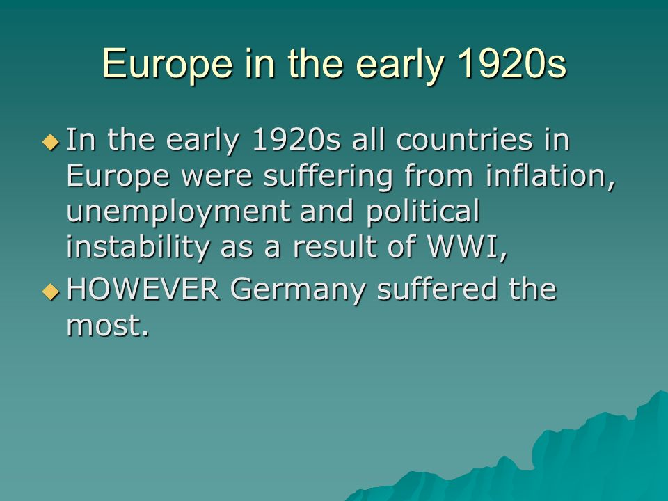 Europe in the early 1920s