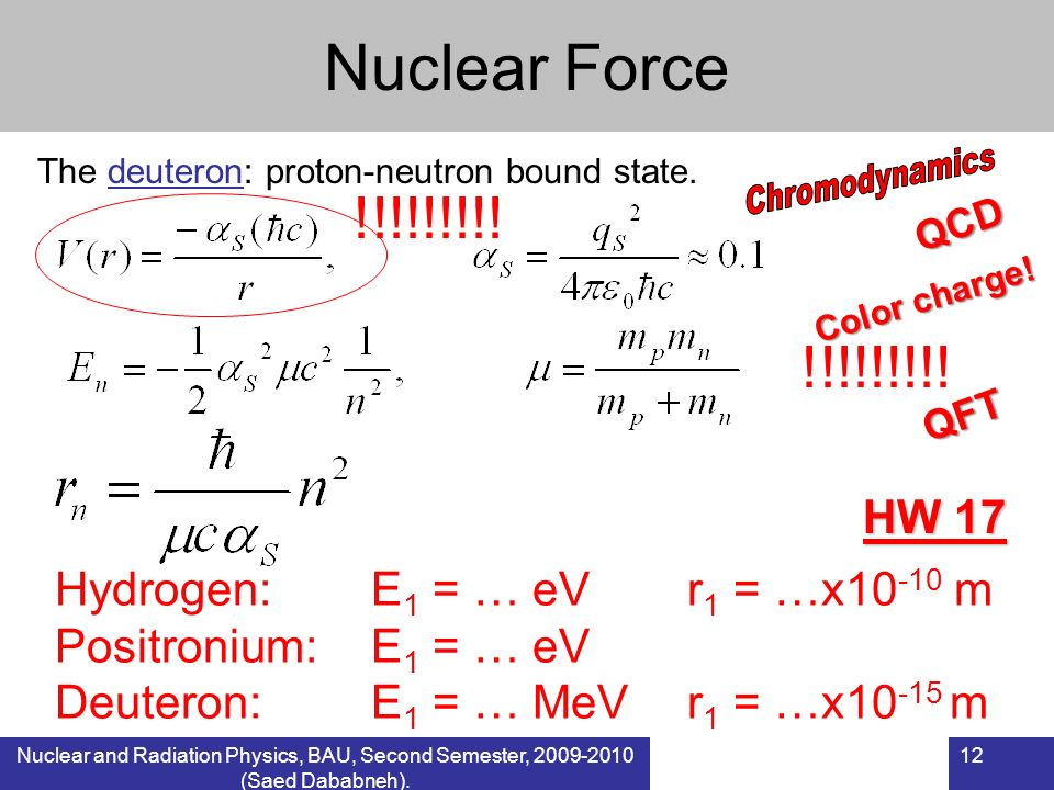 Nuclear Force The deuteron: proton-neutron bound state. Chromodynamics. !!!!!!!!! QCD. Color charge!