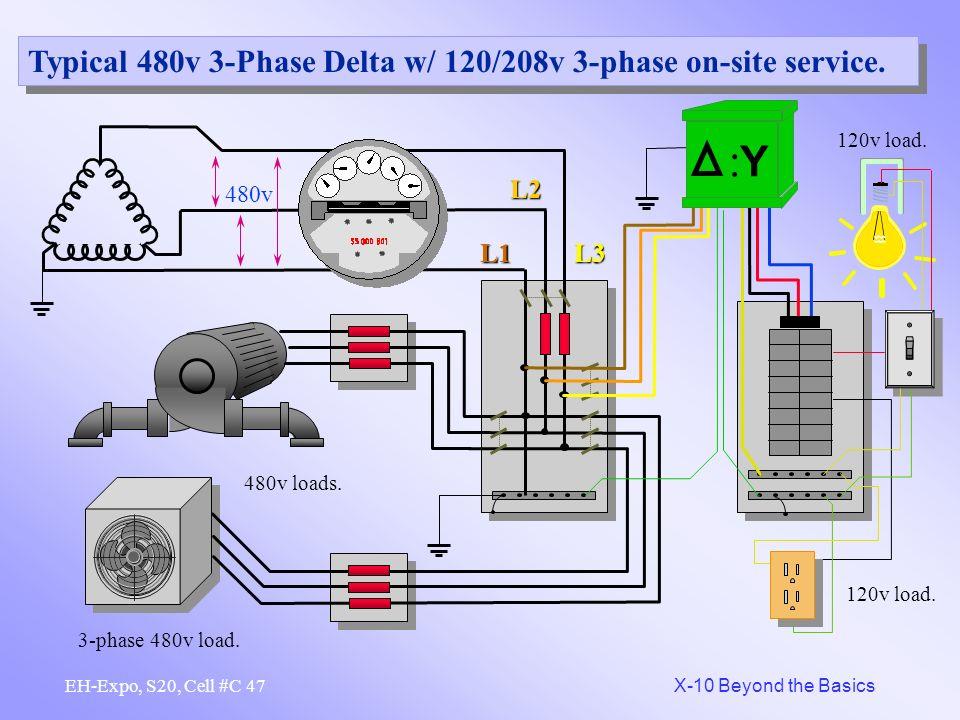 :Y Typical 480v 3-Phase Delta w/ 120/208v 3-phase on-site service. L2