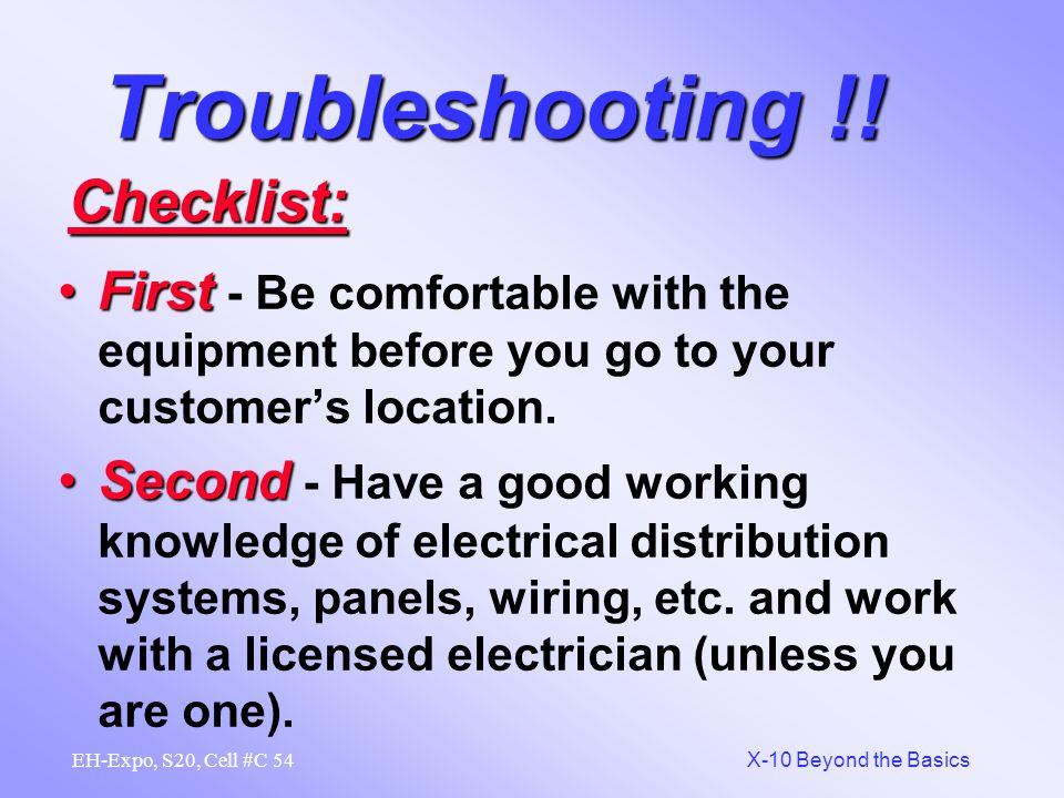Troubleshooting !! Checklist: