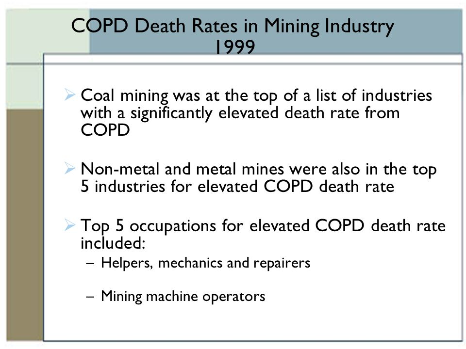 COPD Death Rates in Mining Industry 1999