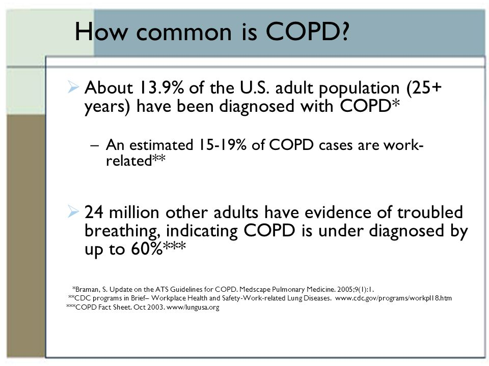 How common is COPD About 13.9% of the U.S. adult population (25+ years) have been diagnosed with COPD*