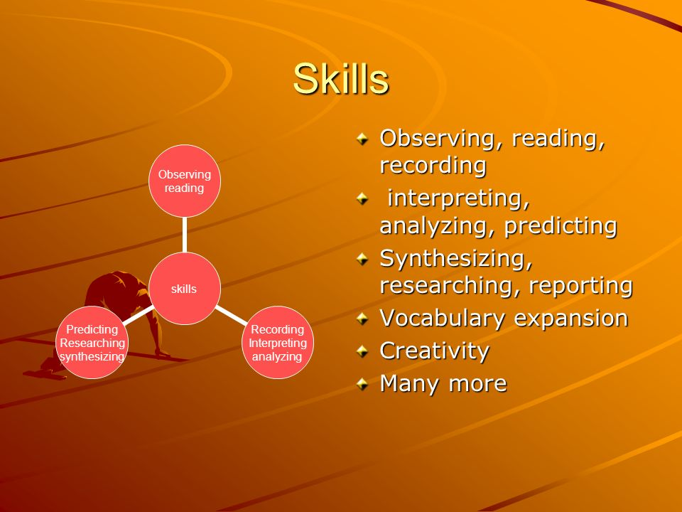 Skills Observing, reading, recording