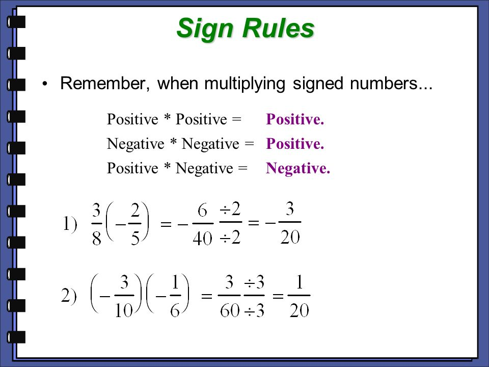 Sign Rules Remember, when multiplying signed numbers...