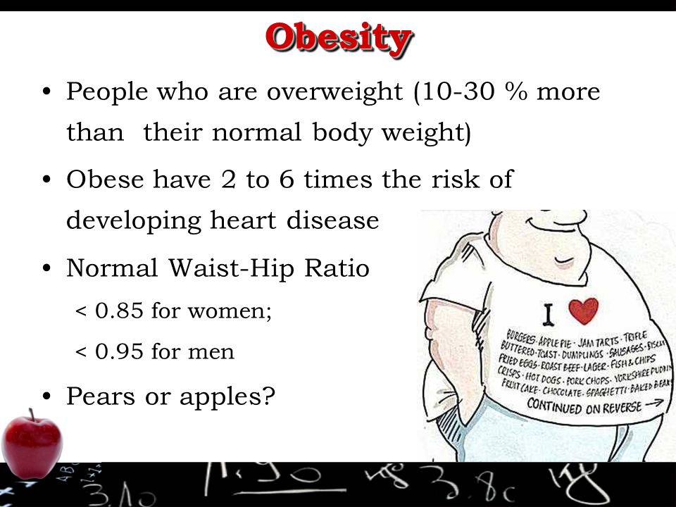 Obesity People who are overweight (10-30 % more than their normal body weight) Obese have 2 to 6 times the risk of developing heart disease.