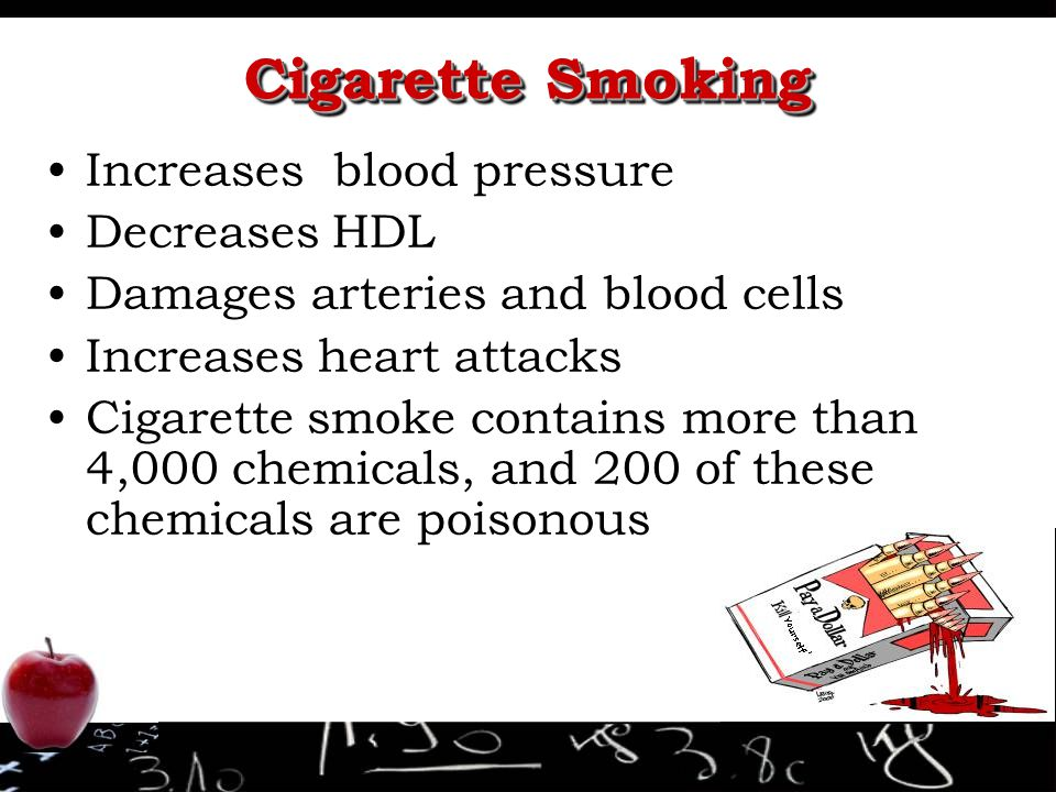 Cigarette Smoking Increases blood pressure Decreases HDL