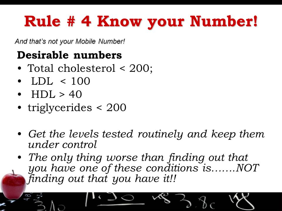 Rule # 4 Know your Number! Desirable numbers
