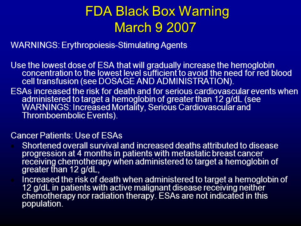FDA Black Box Warning March 9 2007