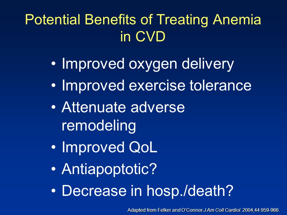 Potential Benefits of Treating Anemia in CVD