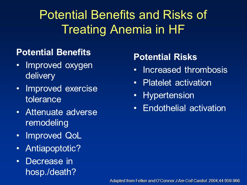Potential Benefits and Risks of Treating Anemia in HF