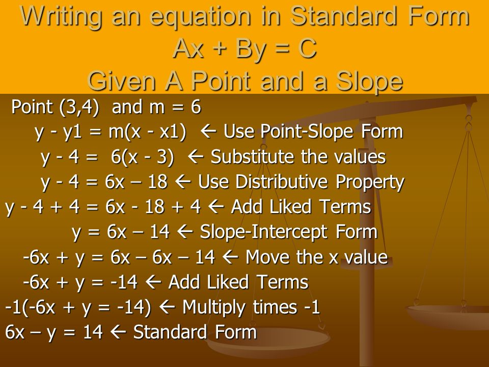 Writing an equation in Standard Form Ax + By = C Given A Point and a Slope