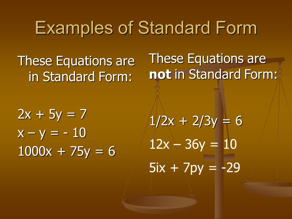 Examples of Standard Form