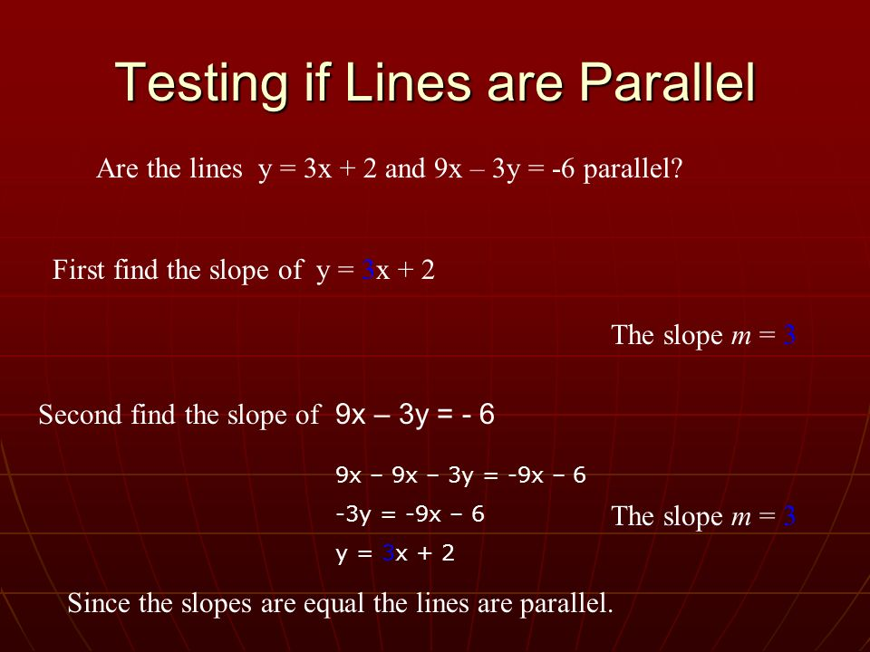 Testing if Lines are Parallel