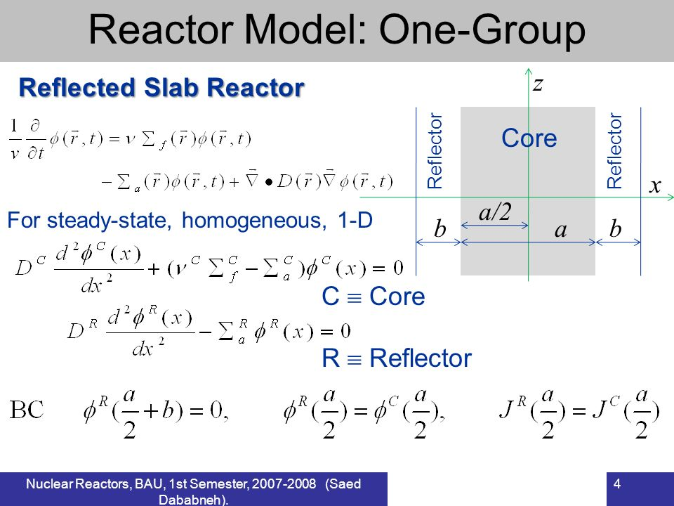 Reactor Model: One-Group