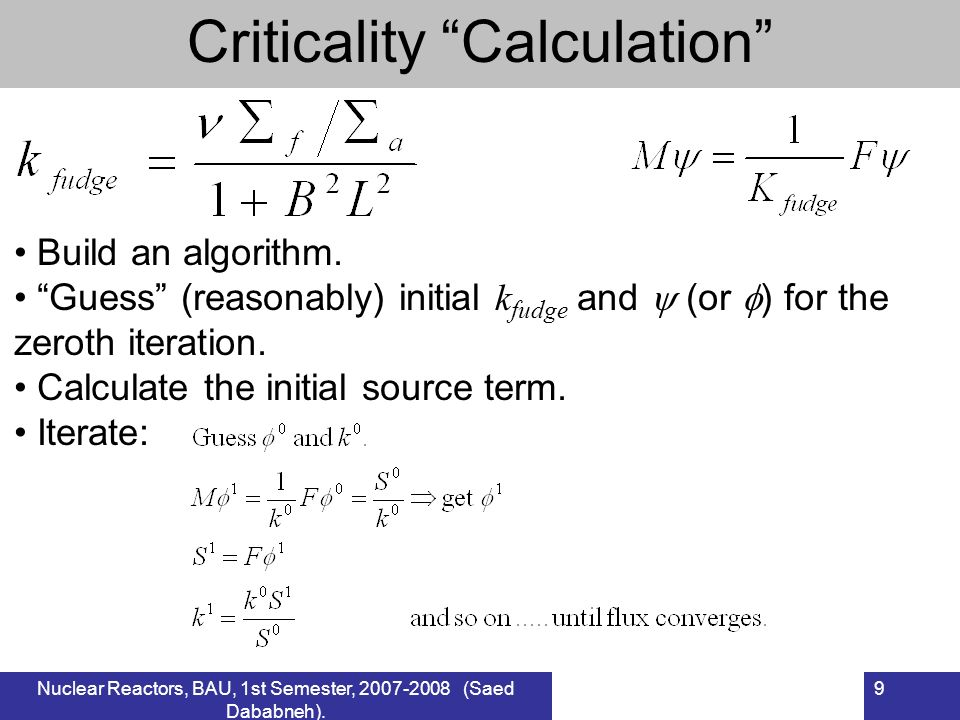 Criticality Calculation