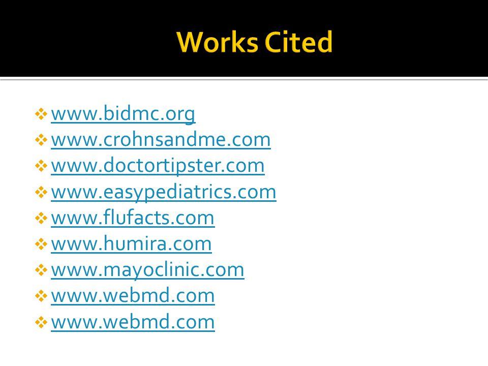 Works Cited www.bidmc.org www.crohnsandme.com www.doctortipster.com