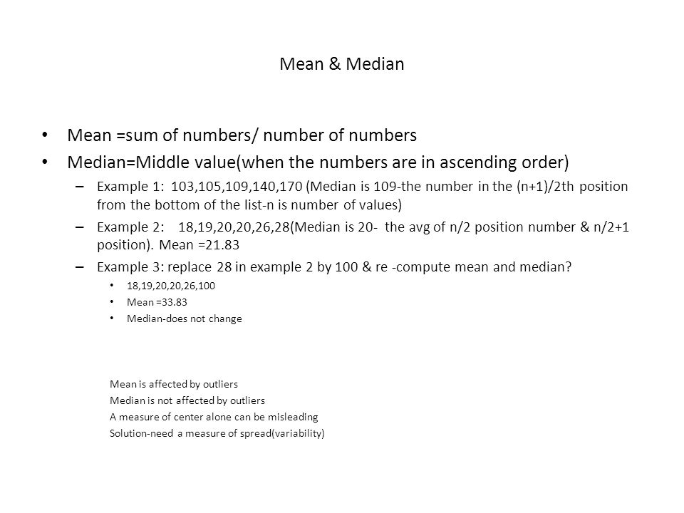 Mean =sum of numbers/ number of numbers
