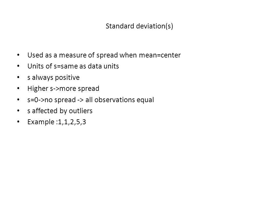Standard deviation(s)