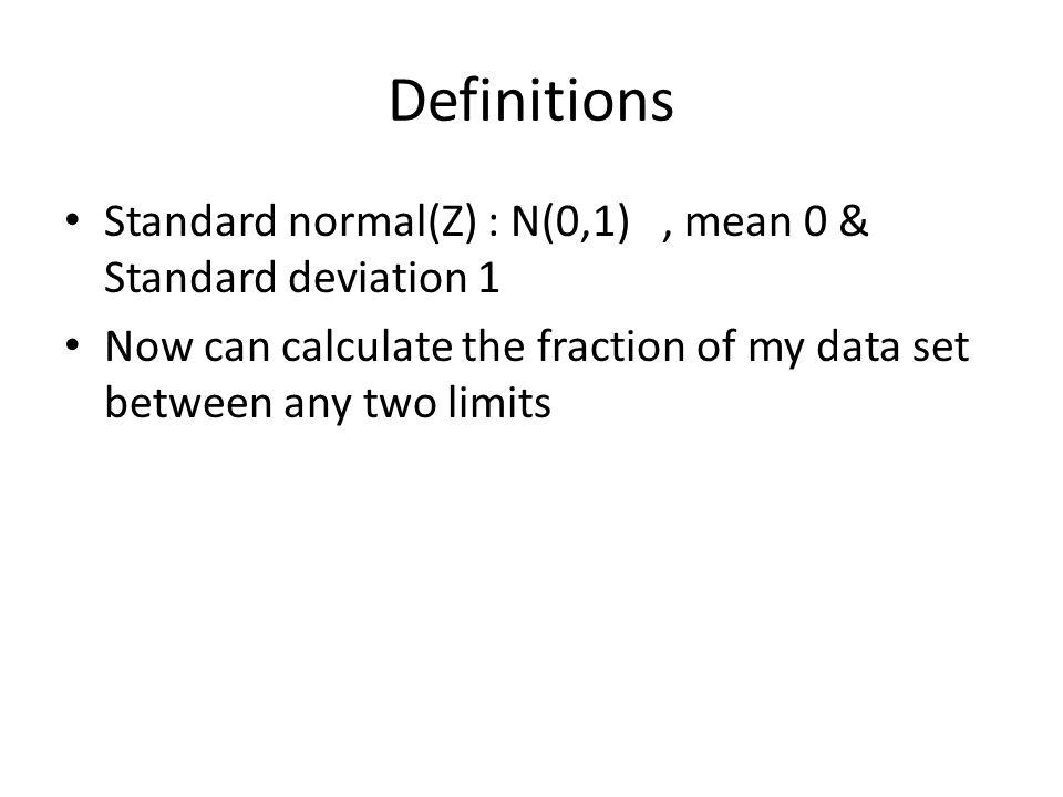 Definitions Standard normal(Z) : N(0,1) , mean 0 & Standard deviation 1.