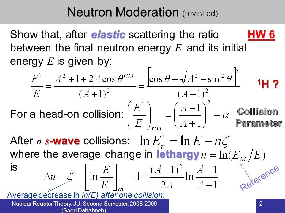 Neutron Moderation (revisited)